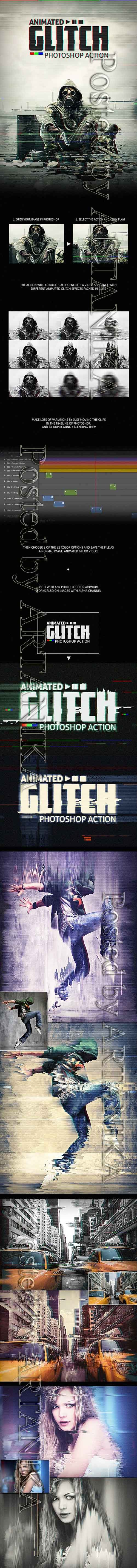 GR - Animated Glitch - Photoshop Action 12119186