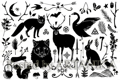 Pagan Winter Silhouette Illustrations