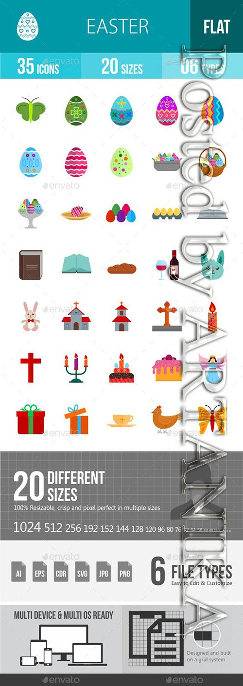 Graphicriver - Easter Flat Multicolor Icons 13001274