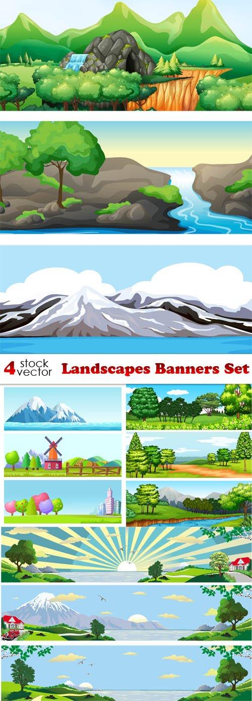Vectors - Landscapes Banners Set