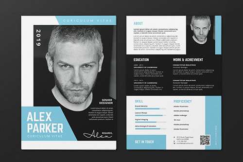 Clean Minimalist CV Resume AI and PSD Flyer Vol.31