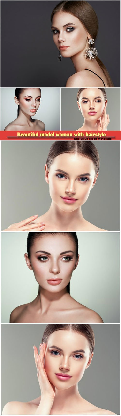 Beautiful model woman with hairstyle and perfect make-up and jewelry