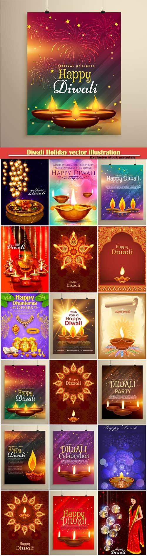 Diwali Holiday vector illustration with burning diya # 4