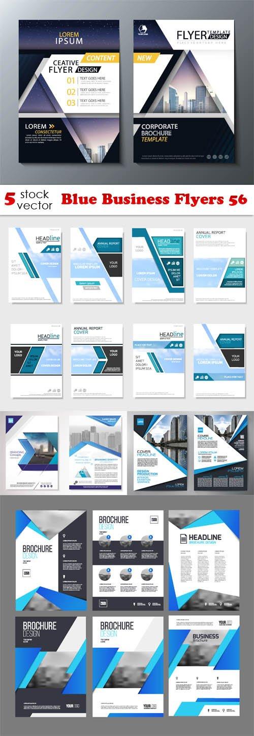 Vectors - Blue Business Flyers 56