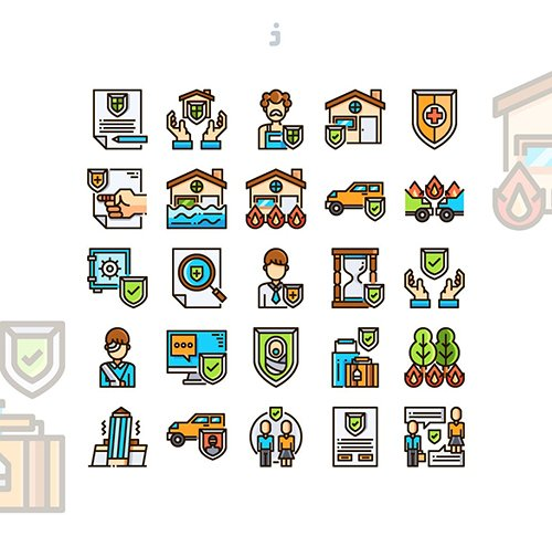 25 Insurance Icon set