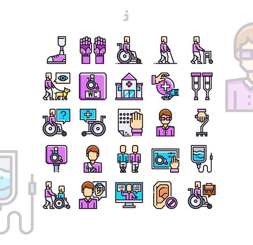 25 Disabled People Icon set