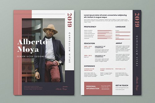 Clean Minimalist CV Resume AI and PSD Flyer Vol.34