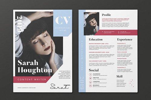 Clean Minimalist CV Resume AI and PSD Flyer Vol.32