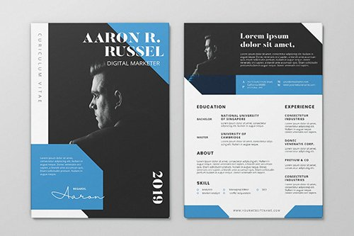 Clean Minimalist CV Resume AI and PSD Flyer Vol.36