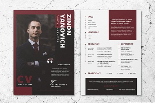 Clean Minimalist CV Resume AI and PSD Flyer Vol.33
