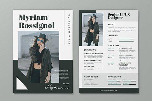 Clean Minimalist CV Resume AI and PSD Flyer Vol.35