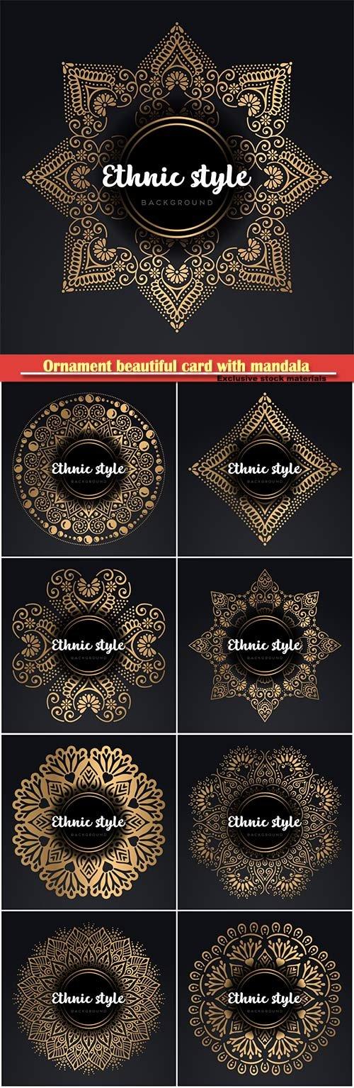 Ornament beautiful card with mandala in vector