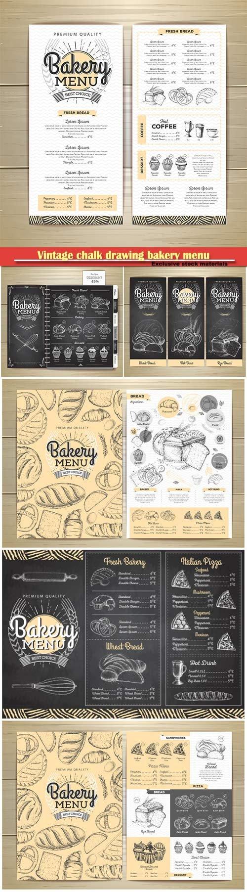 Vintage chalk drawing bakery menu design, restaurant menu