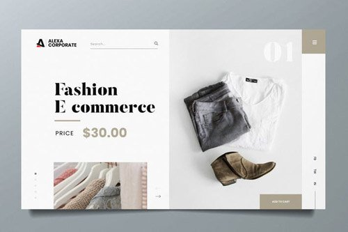 Fashion Ecommerce Web Header PSD and AI Template