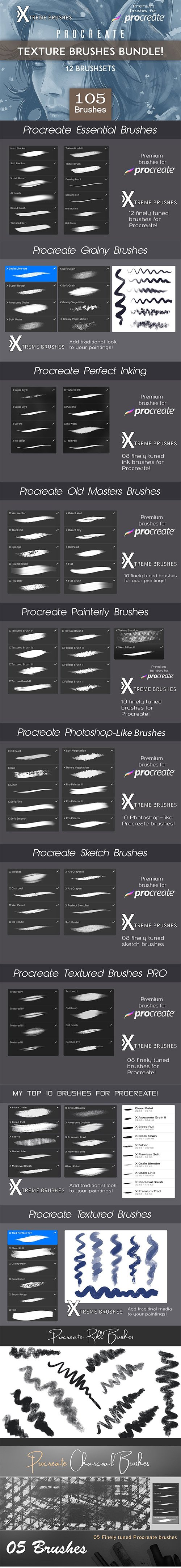 CreativeMarket - Procreate Texture Brushes BUNDLE 3480564