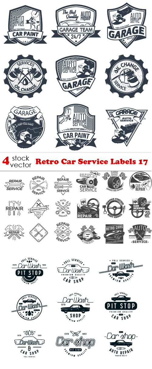 Vectors - Retro Car Service Labels 17