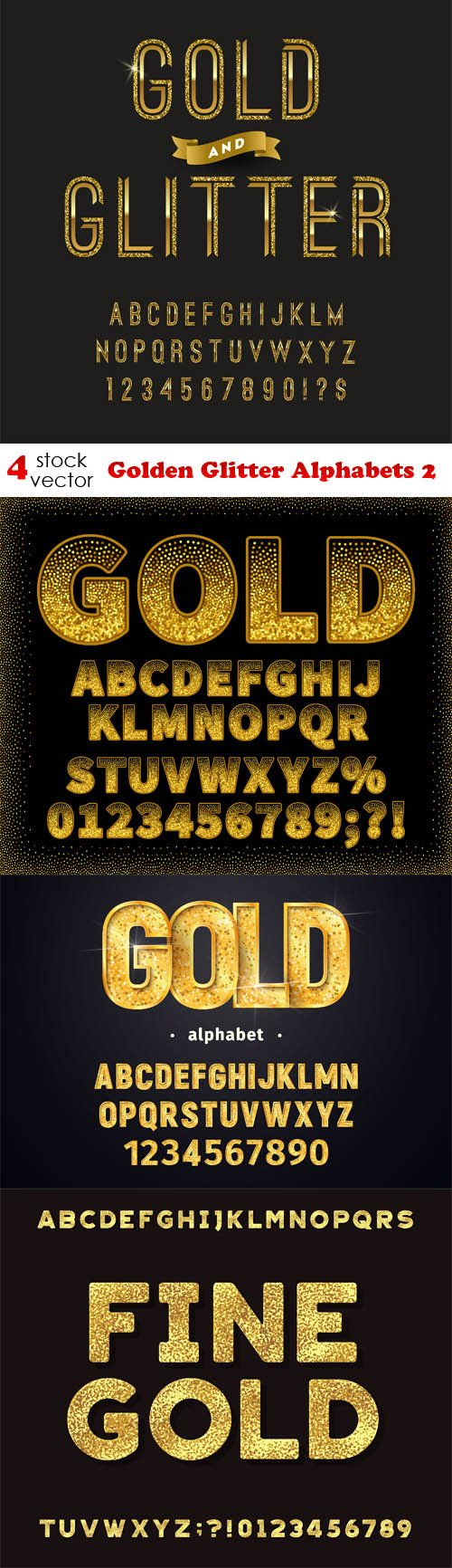 Vectors - Golden Glitter Alphabets 2