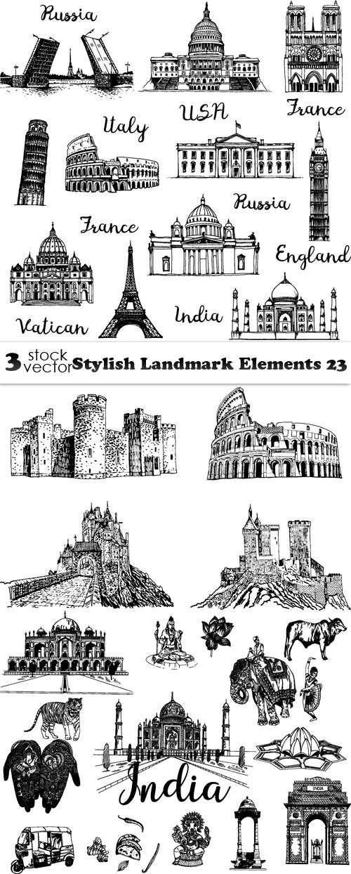 Vectors - Stylish Landmark Elements 31