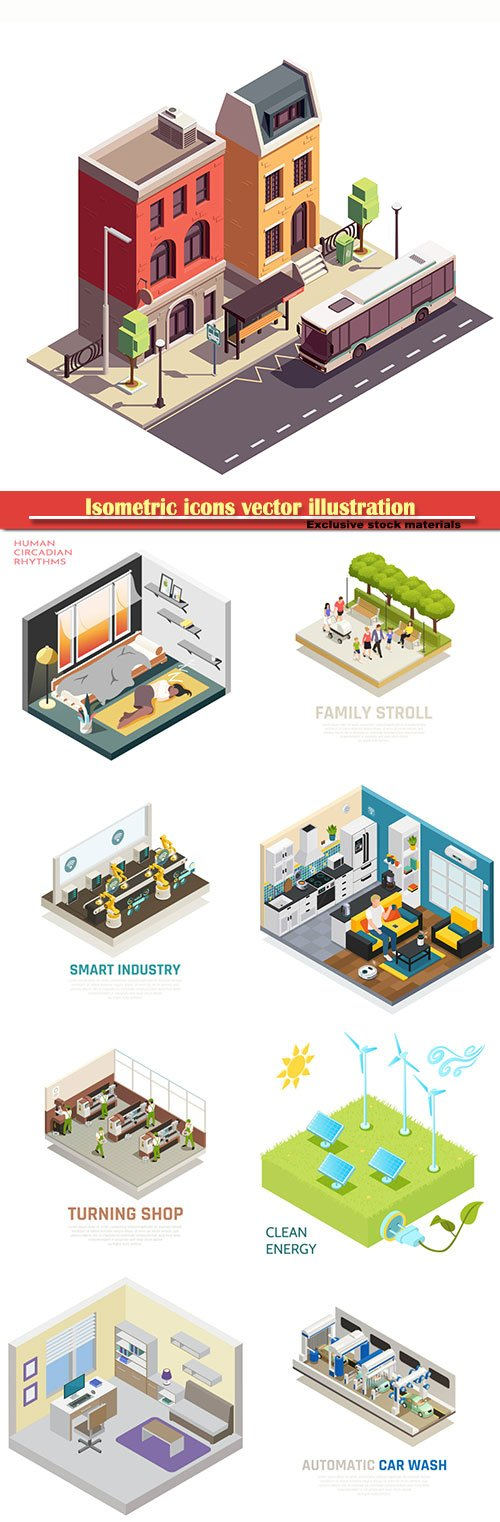Isometric icons vector illustration, banner design template # 32