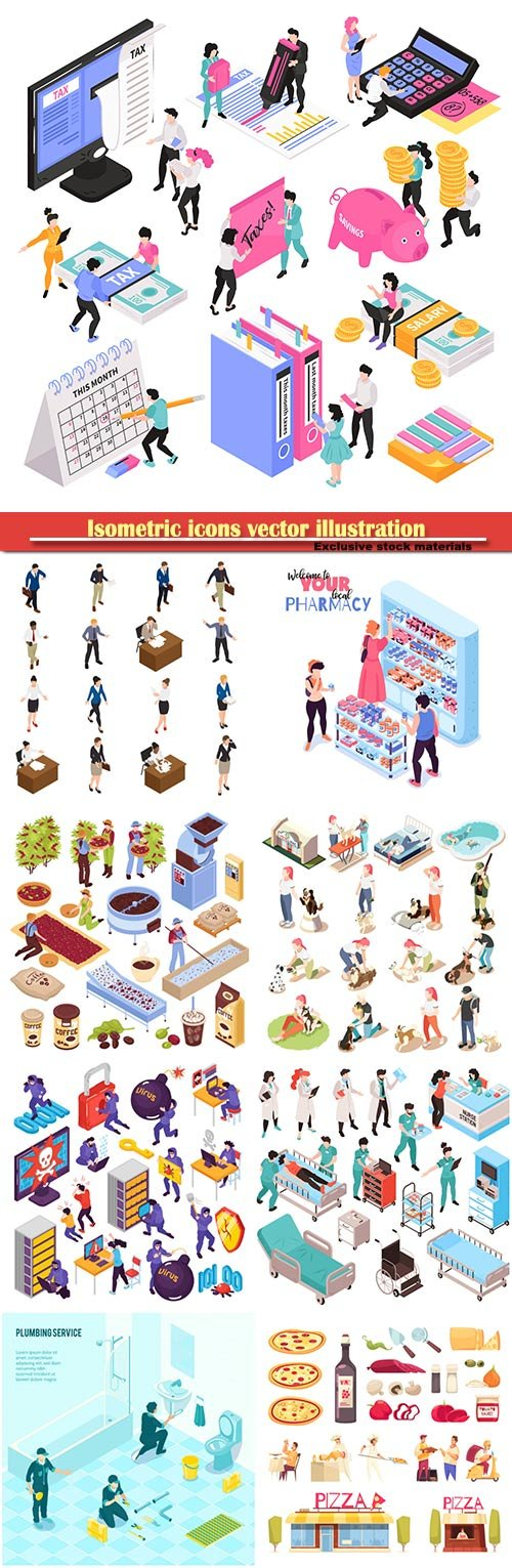 Isometric icons vector illustration, banner design template # 31