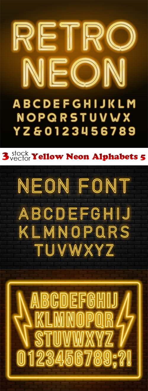 Vectors - Yellow Neon Alphabets 5