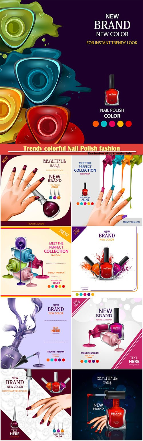 Advertisement promotion banner for trendy colorful Nail Polish fashion