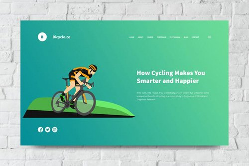 Bicycle Web Header PSD and Vector Template