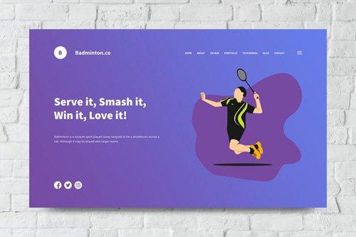 Badminton Web Header PSD and Vector Template