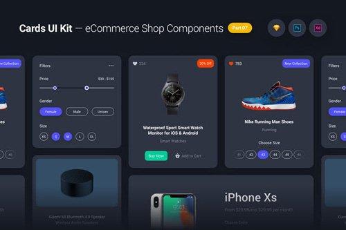 Cards UI Kit - eCommerce Shop Widgets & Components Part 07 - Black