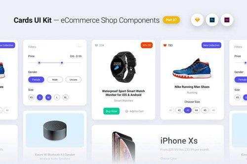 Cards UI Kit - eCommerce Shop Widgets & Components Part 07 - White