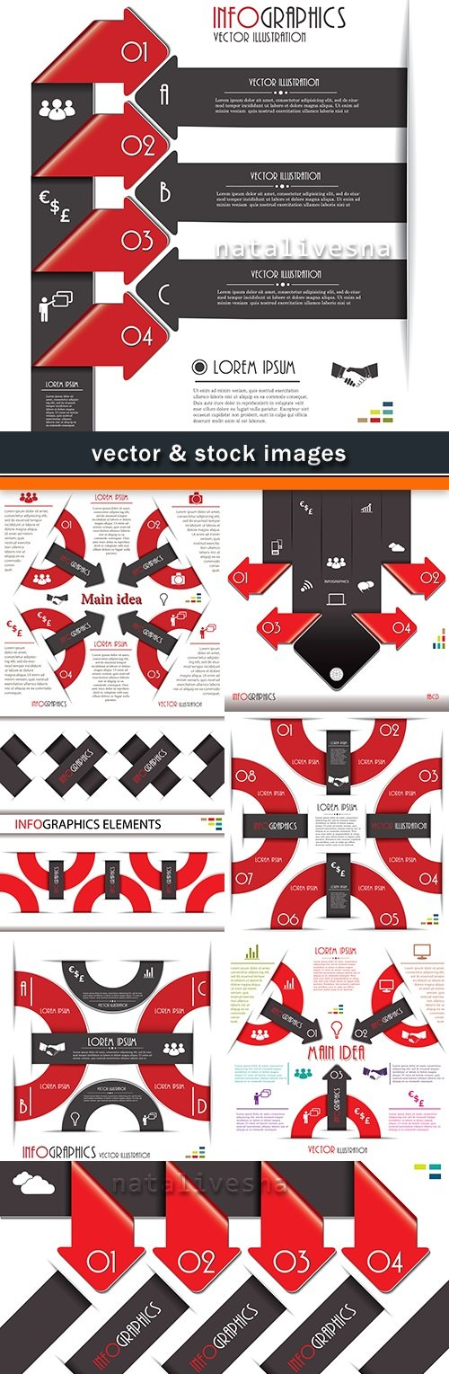 Business infographics options Red elements collection 45
