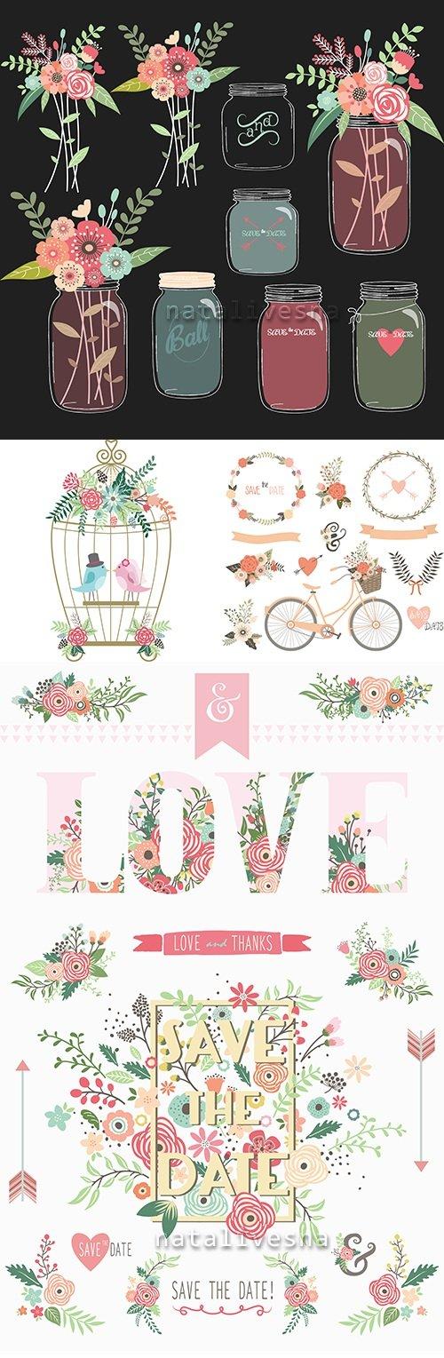 Flower decorative elements design wedding invitations