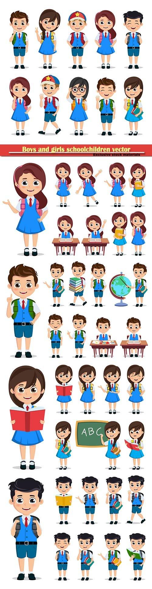 Boys and girls schoolchildren vector illustration