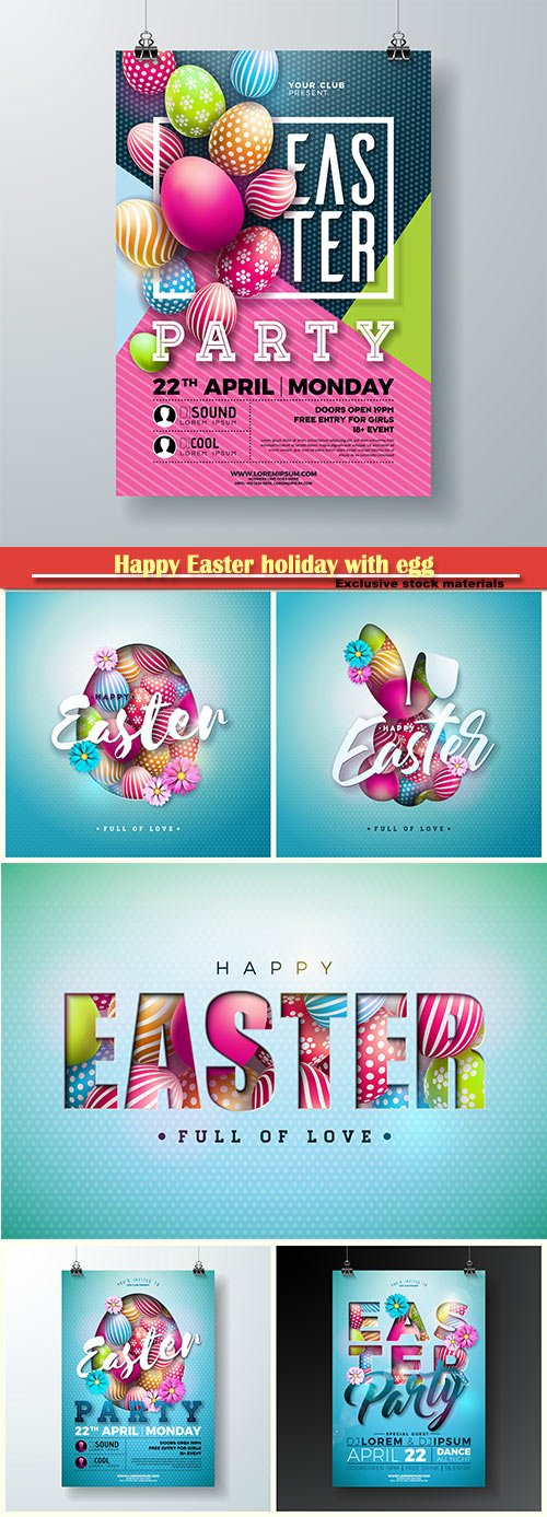Happy Easter holiday with egg and spring flower vector illustration # 5
