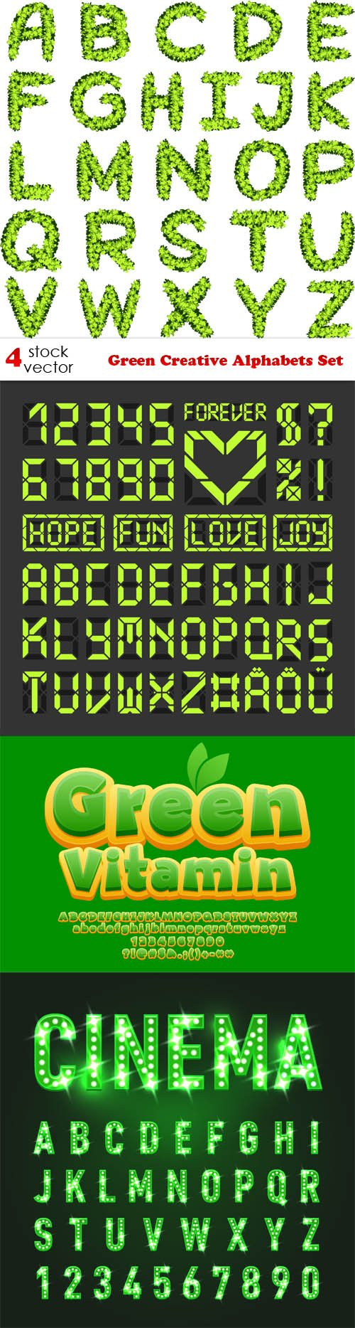 Vectors - Green Creative Alphabets Set