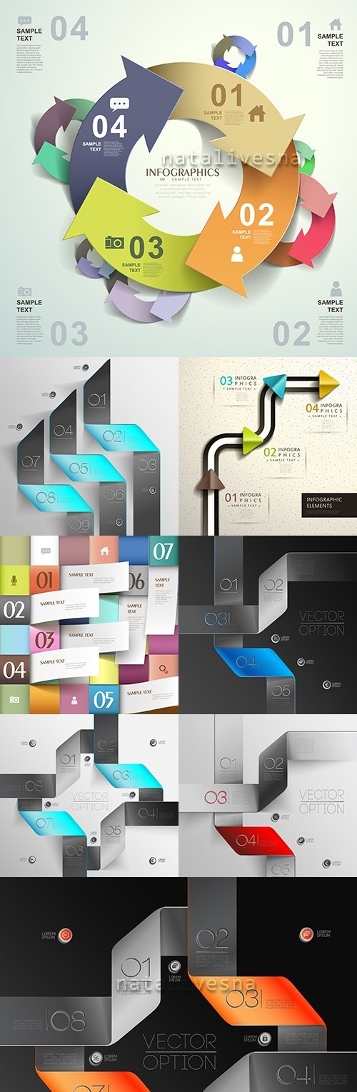 Business infographics options elements collection 46