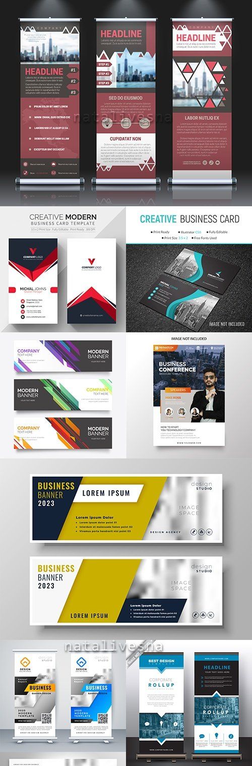 Business card brochure abstract templates and gift voucher 45
