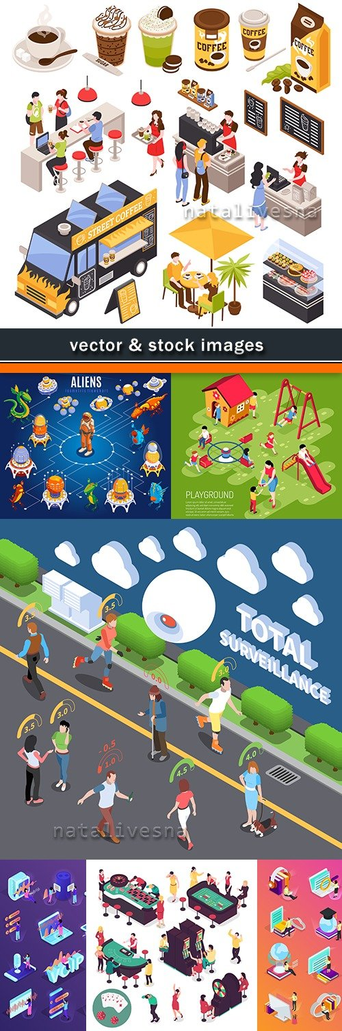 Isometric icons social system people vector illustration