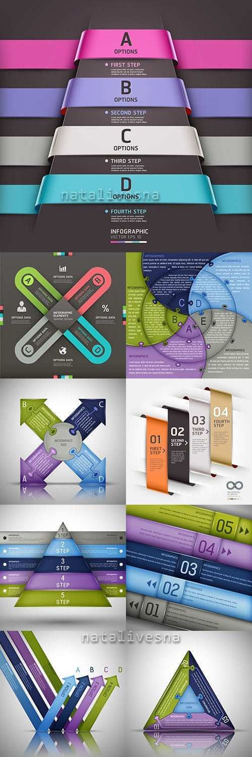 Business infographics options elements collection 47