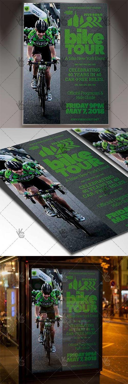 Five Boro Bike Tour Flyer – Sport PSD Template