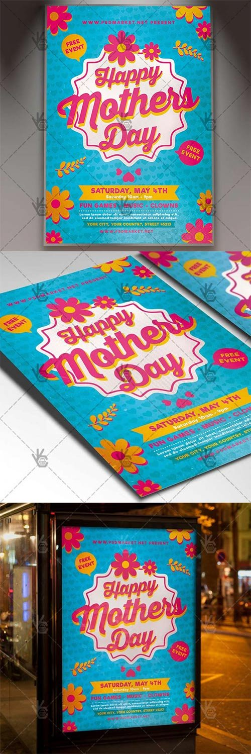 Happy Mothers Day Flyer – Club PSD Template