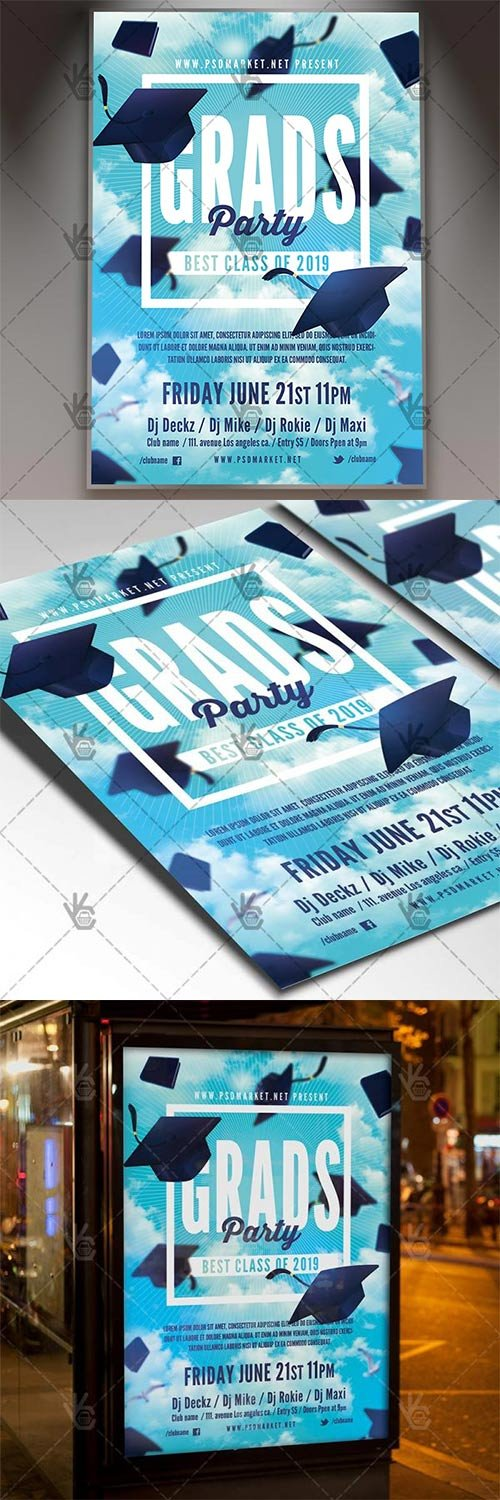 Graduation Party Flyer – School PSD Template