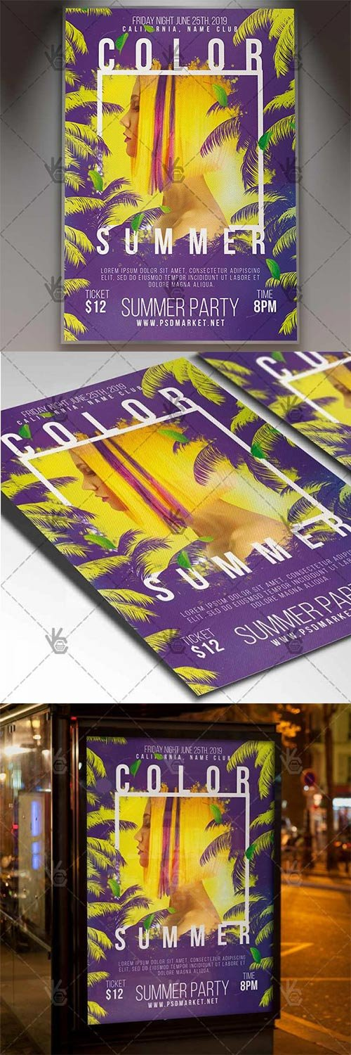 Summer Color Flyer – Summer PSD Template
