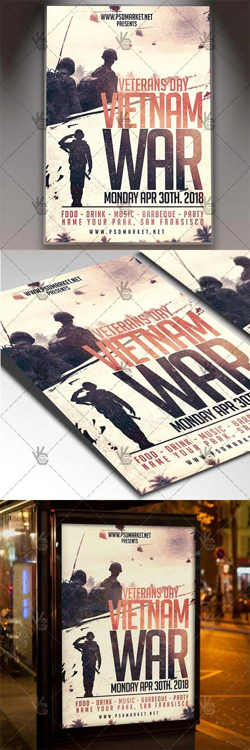 Vietnam War Veterans Day Flyer – American PSD Template