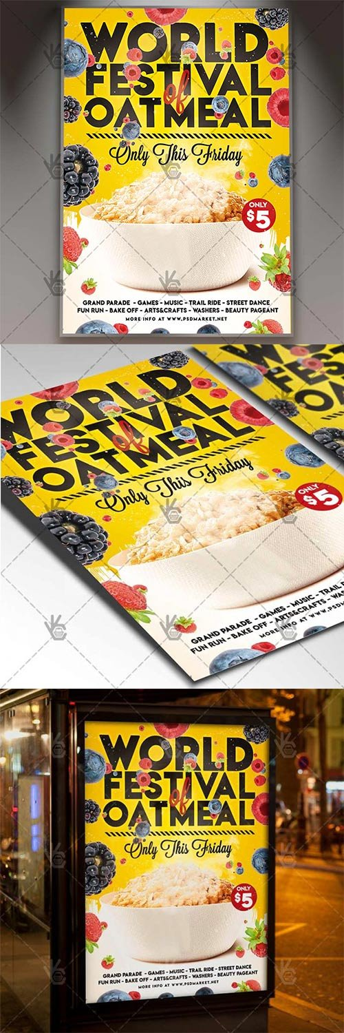 World Festival of Oatmeal Flyer – Food PSD Template
