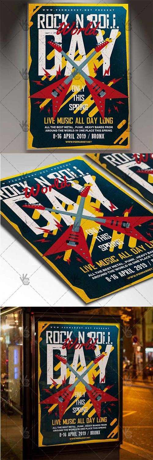 World Rock-n-Roll Day Flyer – Rock PSD Template