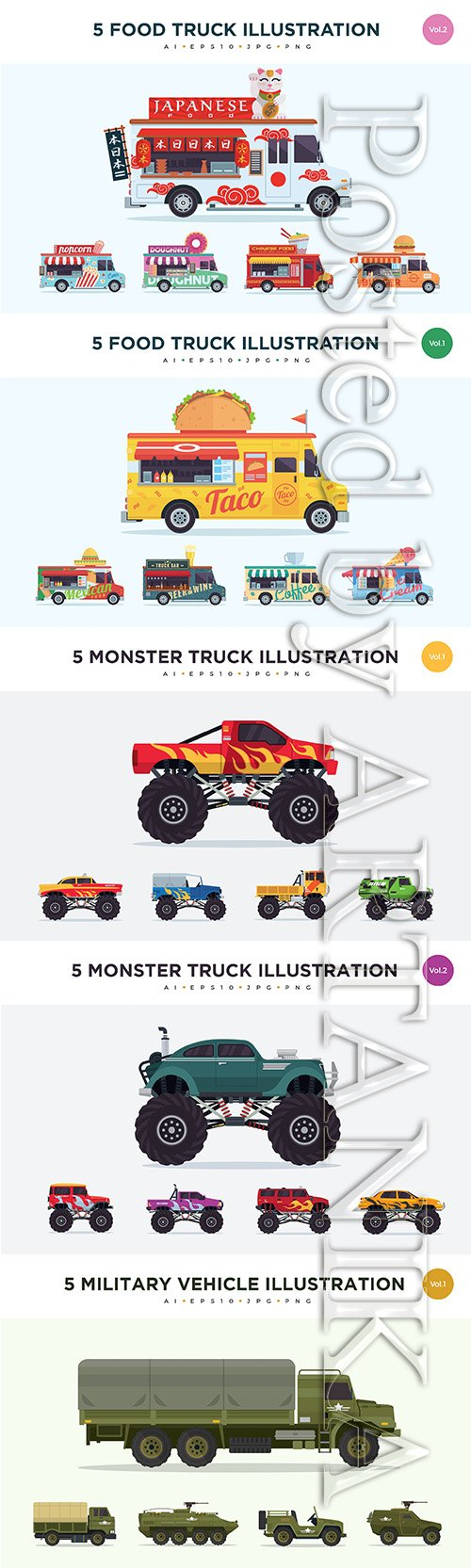 Cars Vector Illustration Set