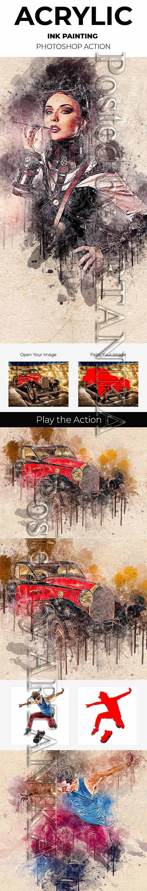 Graphicriver - Acrylic Ink Painting Photoshop Action 21293731