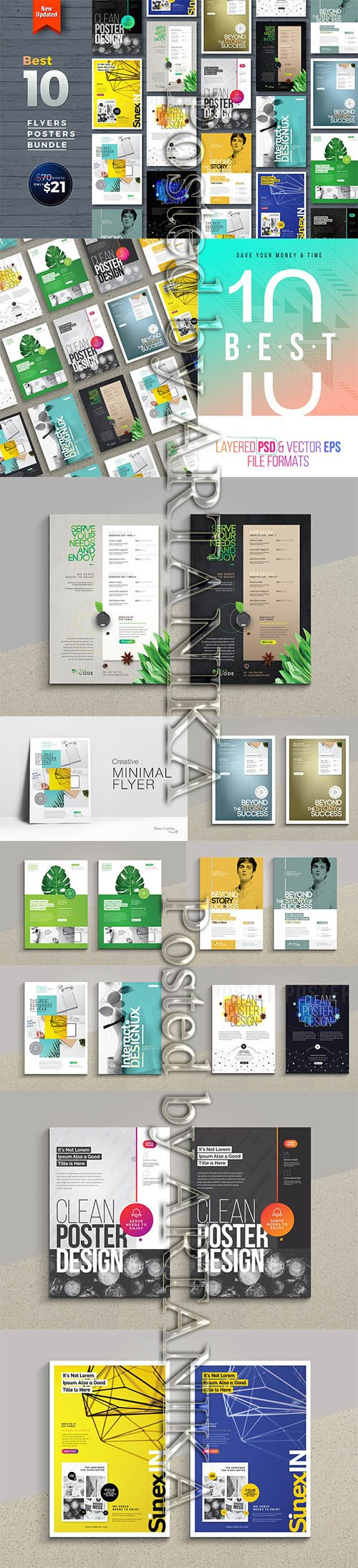 CreativeMarket - Best 10 Flyer Poster Bundle 2247097