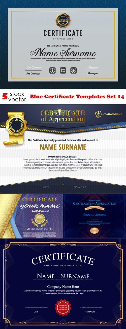 Vectors - Blue Certificate Templates Set 14